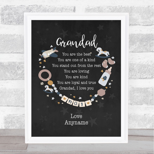 Grandad You Are The Best Poem Black Personalised Dad Father's Day Gift Print