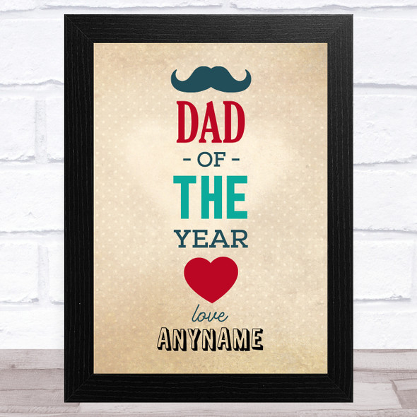 Hipster Dad Of The Year Personalised Dad Father's Day Gift Wall Art Print