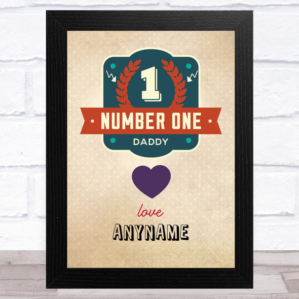 Number One Dad Vintage Personalised Dad Father's Day Gift Wall Art Print