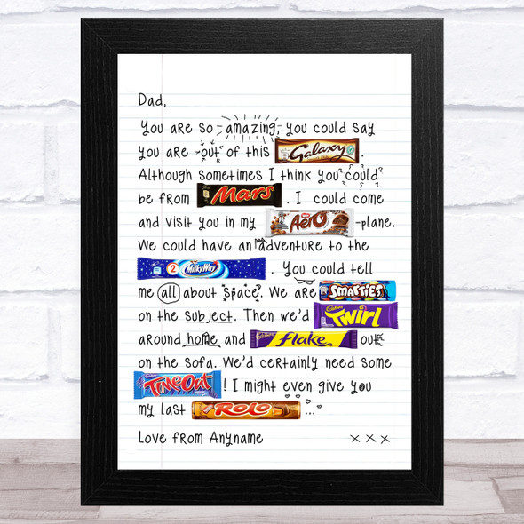 Chocolate Doodle Letter To Dad Personalised Dad Father's Day Gift Wall Art Print
