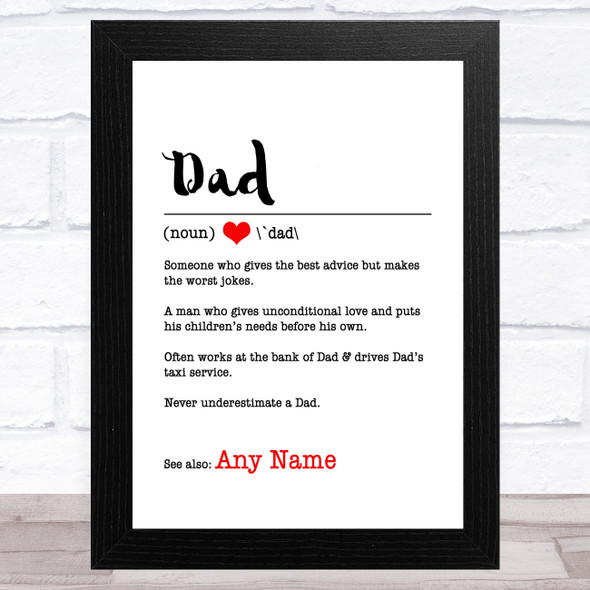 Dad Dictionary Definition Personalised Dad Father's Day Gift Wall Art Print