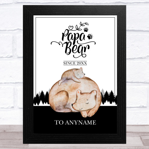 Name Birth Date Cute Watercolour Papa Bear Personalised Father's Day Gift Print