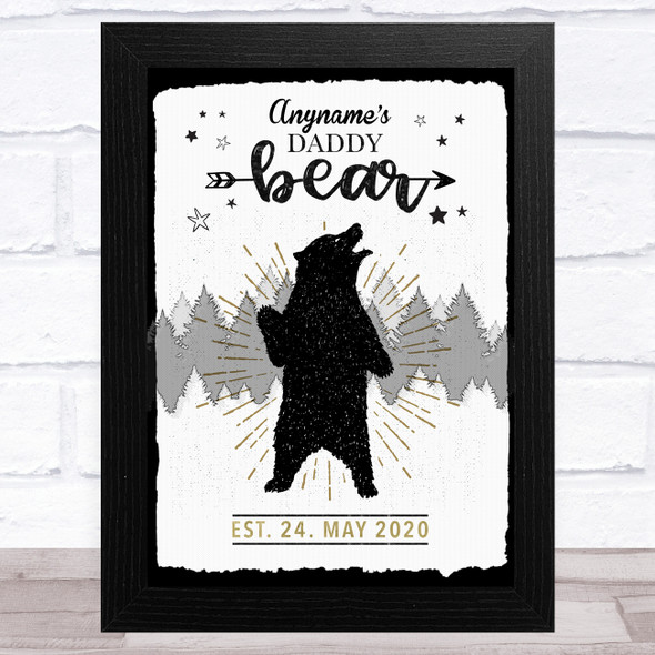 Name & Birth Date Wild Vintage Daddy Bear Personalised Father's Day Gift Print