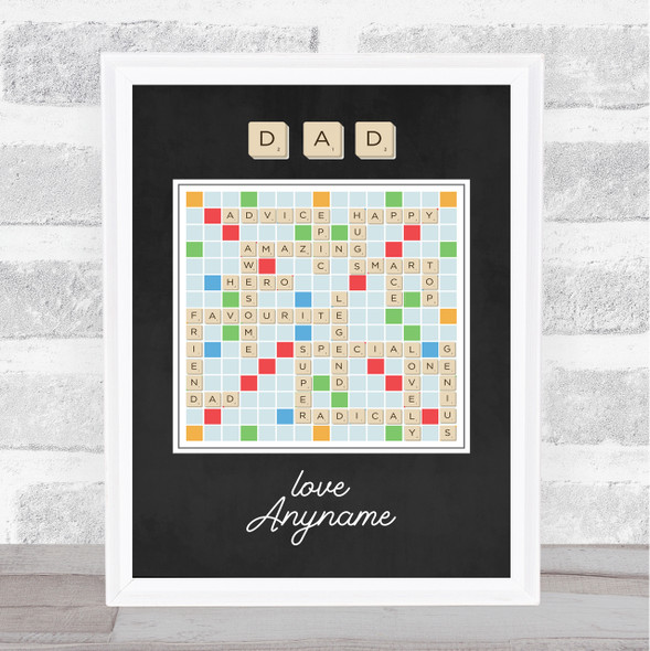 Scrabble Words Dad Personalised Dad Father's Day Gift Wall Art Print