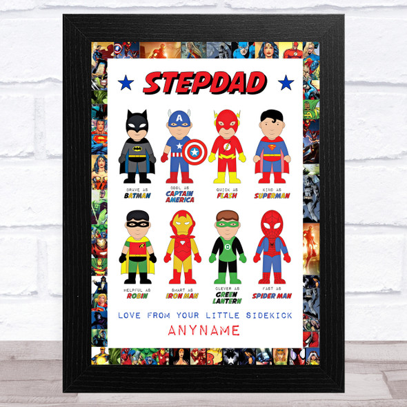 Stepdad Like My Favourite Super Hero's Personalised Dad Father's Day Gift Print