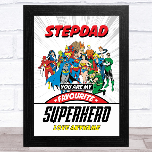Stepdad My Favourite Superhero Vintage Personalised Dad Father's Day Gift Print