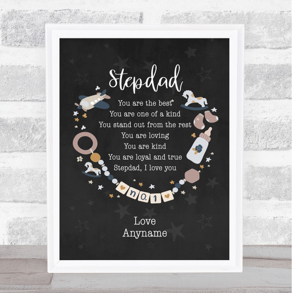 Stepdad You Are The Best Poem Black Personalised Dad Father's Day Gift Print
