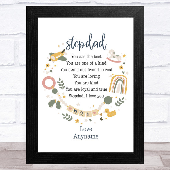 Stepdad You Are The Best Poem Personalised Dad Father's Day Gift Wall Art Print