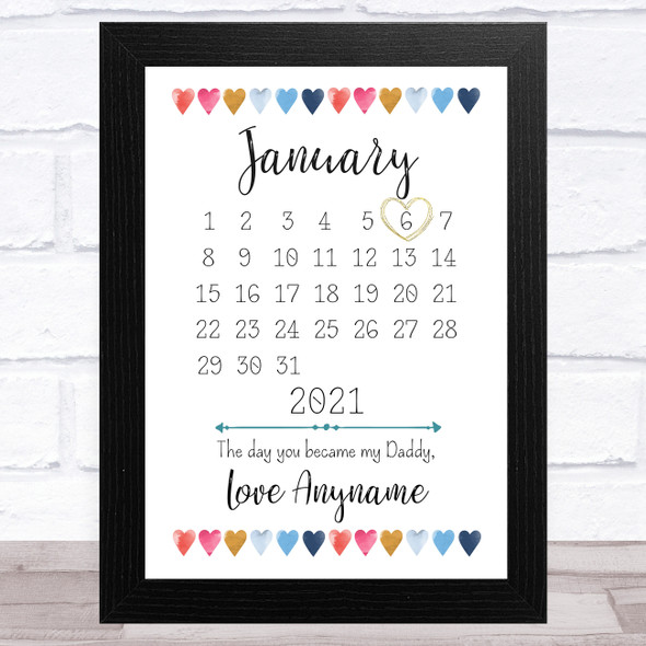 My Dad Calendar Colourful Hearts Personalised Father's Day Gift Print