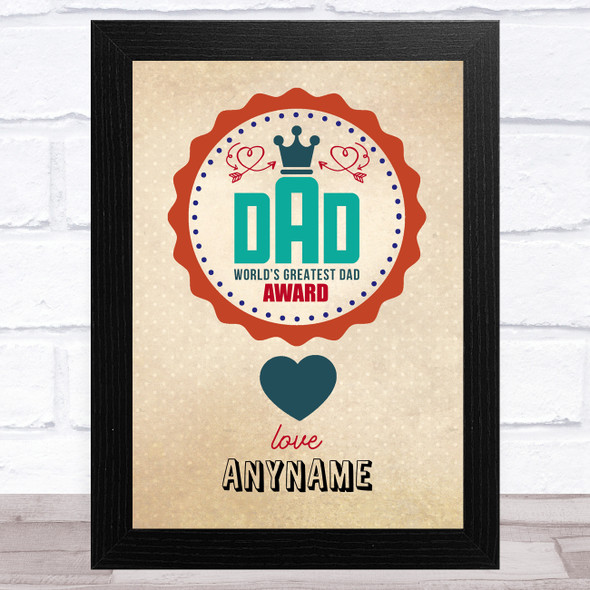 Vintage World's Greatest Dad Personalised Dad Father's Day Gift Wall Art Print