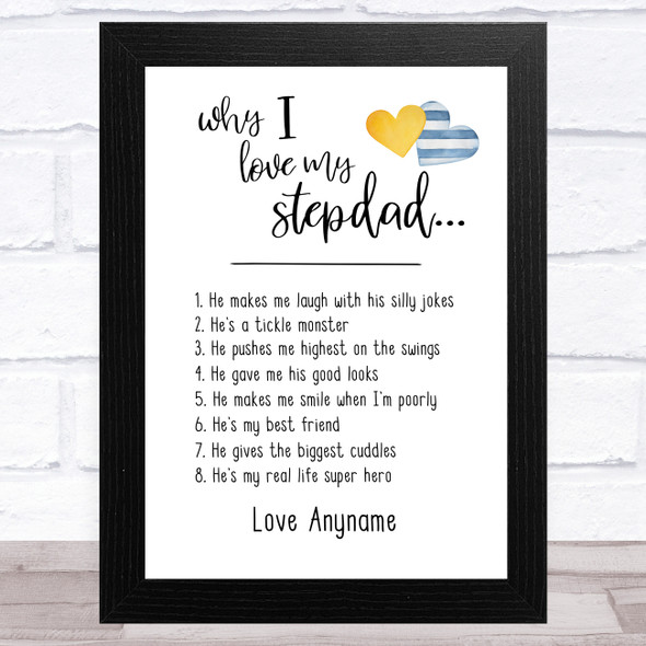 Why I Love My Stepdad List Personalised Dad Father's Day Gift Wall Art Print