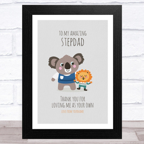 Lion To My Amazing Stepdad Personalised Dad Father's Day Gift Wall Art Print