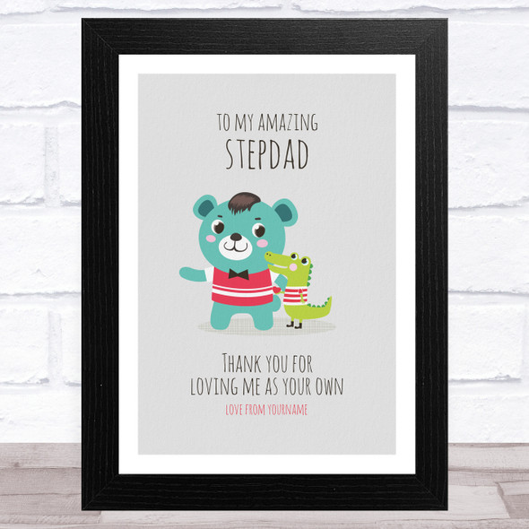 My Amazing Stepdad Dinosaur And Bear Personalised Dad Father's Day Gift Print