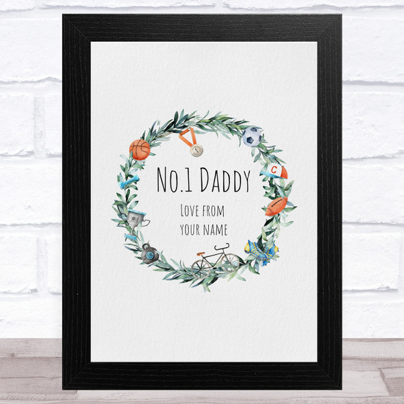 No.1 Daddy Wreath Personalised Dad Father's Day Gift Wall Art Print