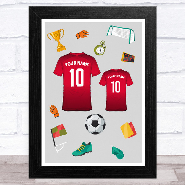 Red Football Shirts (Can Be Any Colour) Personalised Dad Father's Day Gift Print