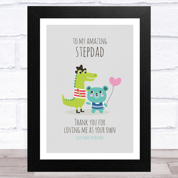 To My Amazing Stepdad Dinosaur And Bear Personalised Dad Father's Day Gift Print