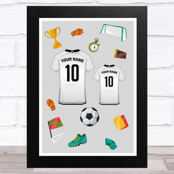 White Football Shirts Can Be Any Colour Personalised Dad Father's Day Gift Print