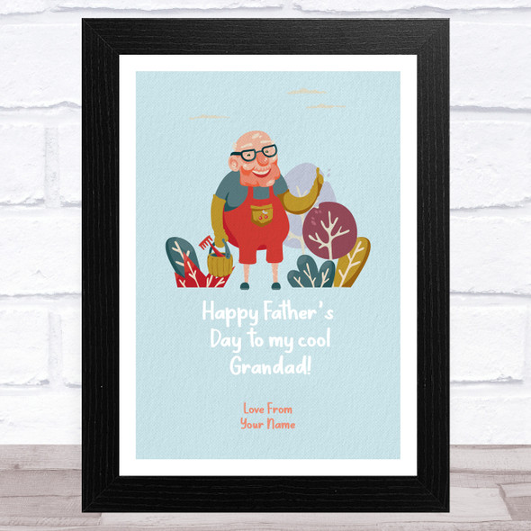 Cool Grandad Gardening Personalised Dad Father's Day Gift Wall Art Print