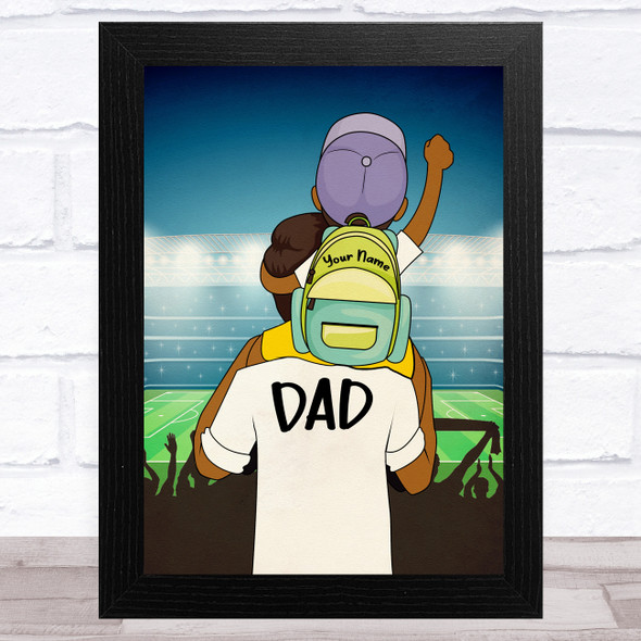 Dad With Son On Shoulders Dark Skin Personalised Dad Father's Day Gift Print
