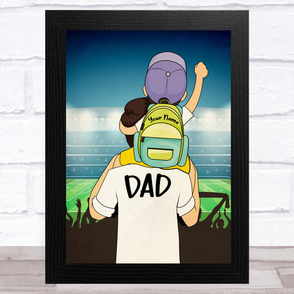 Dad With Son On Shoulders Light Skin Personalised Dad Father's Day Gift Print