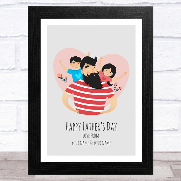 Dad, Son & Daughter Design 1 Personalised Dad Father's Day Gift Wall Art Print