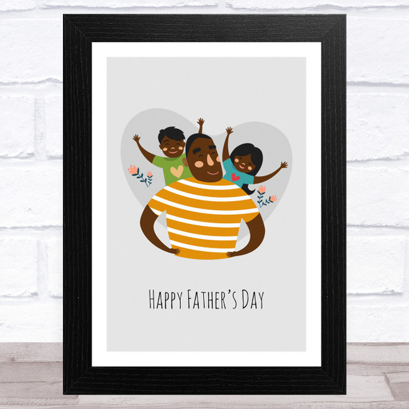 Dad, Son & Daughter Design 10 Personalised Dad Father's Day Gift Wall Art Print