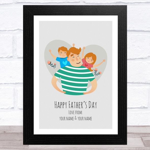 Dad, Son & Daughter Design 14 Personalised Dad Father's Day Gift Wall Art Print
