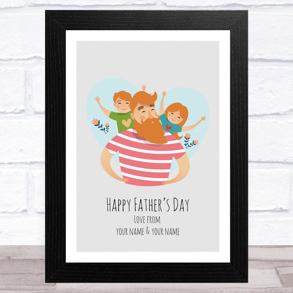 Dad, Son & Daughter Design 2 Personalised Dad Father's Day Gift Wall Art Print