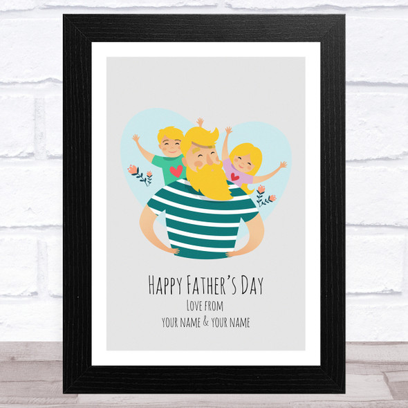 Dad, Son & Daughter Design 3 Personalised Dad Father's Day Gift Wall Art Print