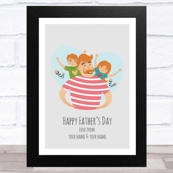 Dad, Son & Daughter Design 4 Personalised Dad Father's Day Gift Wall Art Print