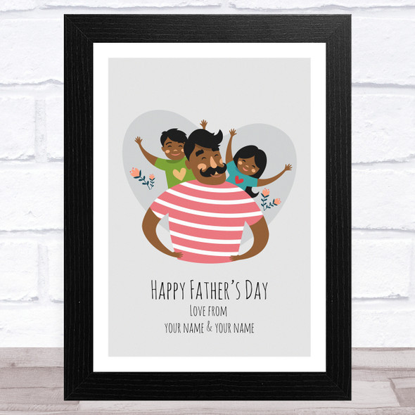 Dad, Son & Daughter Design 7 Personalised Dad Father's Day Gift Wall Art Print