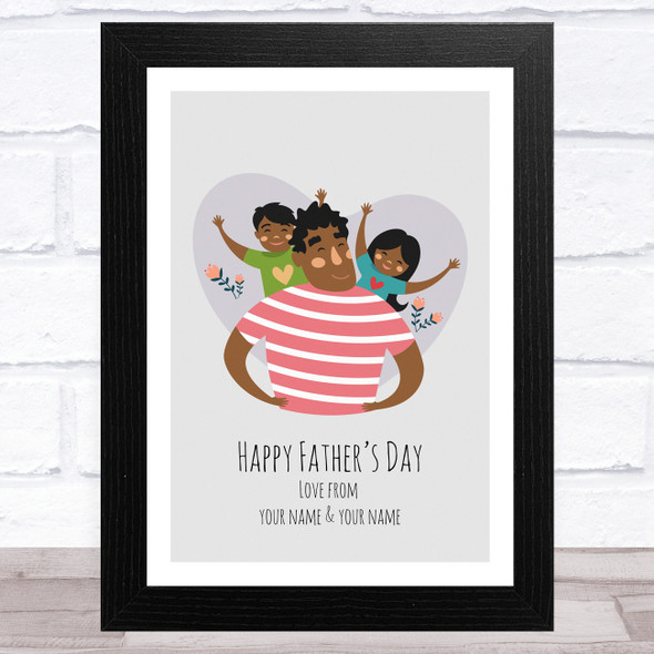 Dad, Son & Daughter Design 8 Personalised Dad Father's Day Gift Wall Art Print