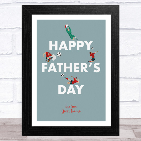 Green Footballers Text Personalised Dad Father's Day Gift Wall Art Print