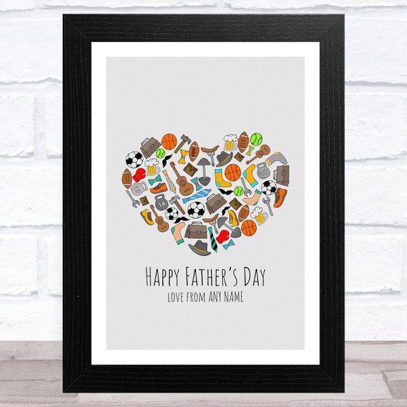 Happy Father's Day Dad's Hobbies Heart Personalised Dad Father's Day Gift Print