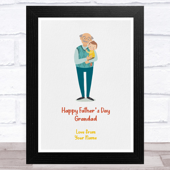 Happy Father's Day Grandad Light Skin Grey Hair Personalised Father's Day Print