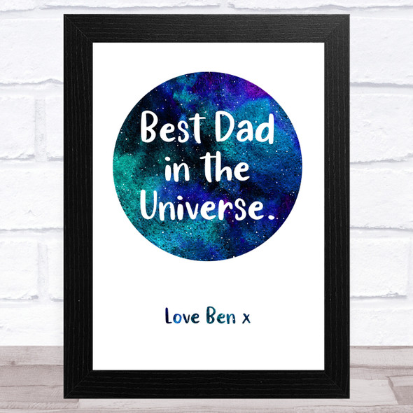 Best Dad In The Universe Personalised Dad Father's Day Gift Wall Art Print