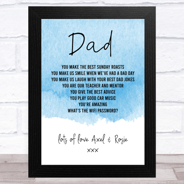 Blue Theme Dad Personalised Dad Father's Day Gift Wall Art Print
