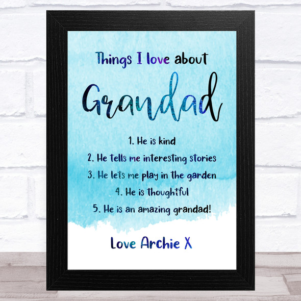 Blue Things I Love About Grandad Personalised Dad Father's Day Gift Print