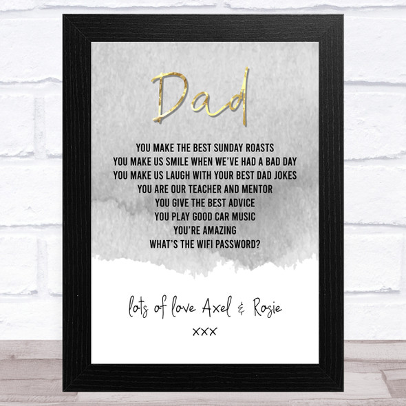 Dad Quote Grey & Gold Text Dad Personalised Dad Father's Day Gift Wall Art Print