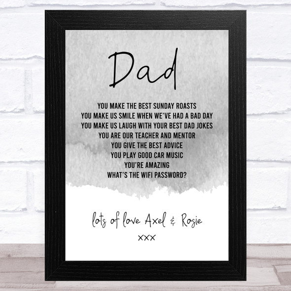 Grey Dad Personalised Dad Father's Day Gift Wall Art Print