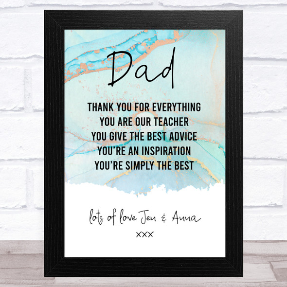 Thank You Dad Marble Personalised Dad Father's Day Gift Wall Art Print