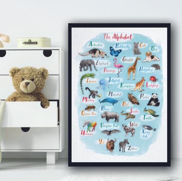 Nursery Animal Alphabet Bright Blue Multicolour Wall Art Print