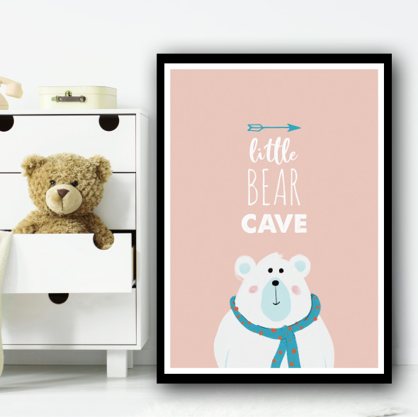 Little Bear Cave Cartoon Pink And Blue Simple Wall Art Print