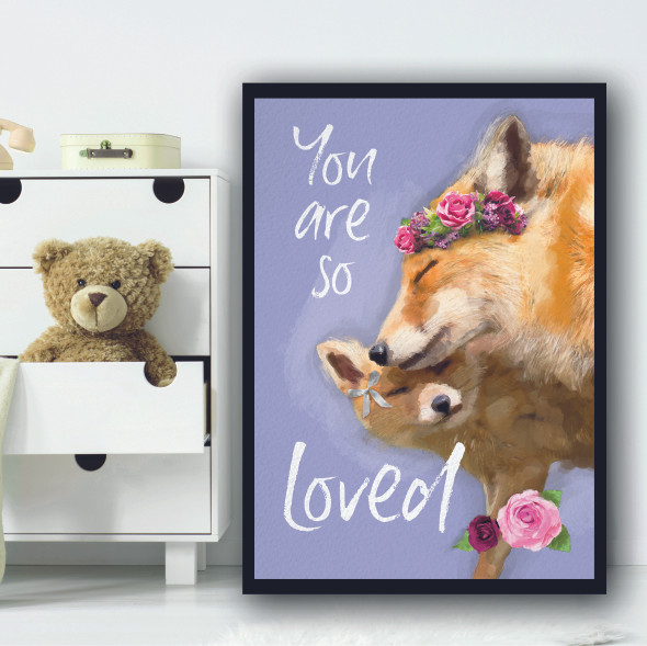 Foxes You Are So Loved Light Blue Floral Wall Art Print