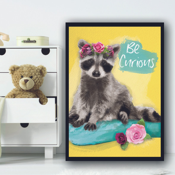 Racoon Be Curious Bright Yellow Floral Wall Art Print