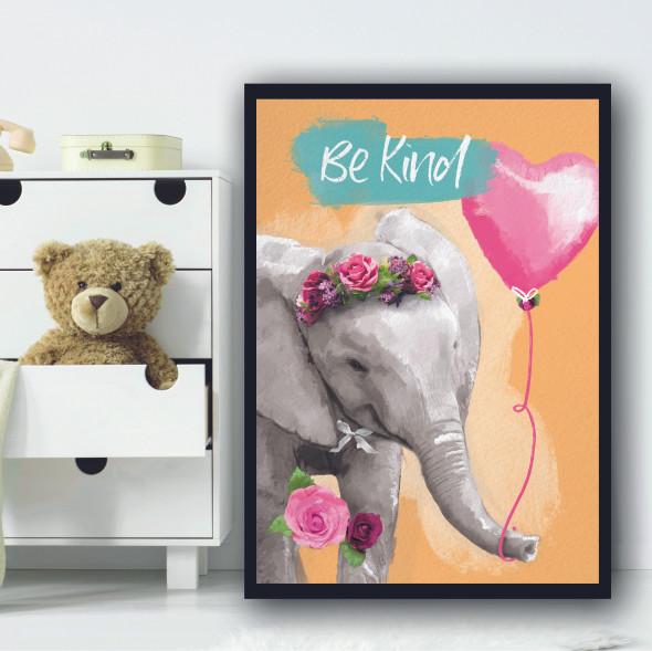 Elephant Be Kind Light Orange Balloon Wall Art Print