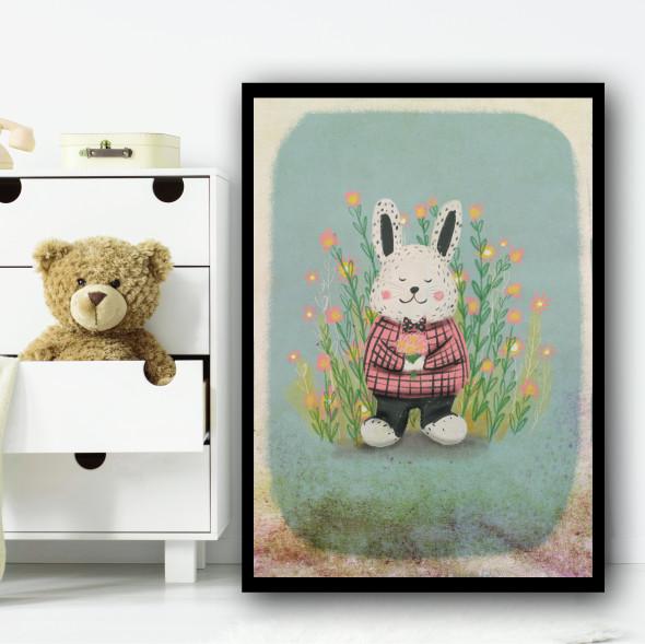 Rabbit Vintage Style Rustic Flowers Wall Art Print