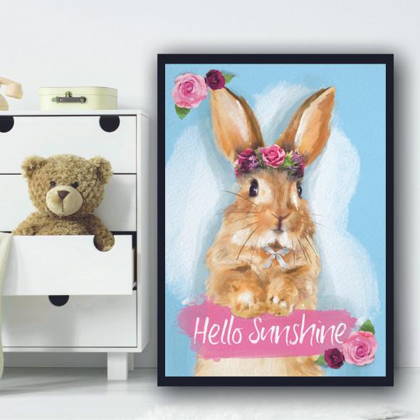 Bunny Hello Sunshine Floral Rabbit Wall Art Print
