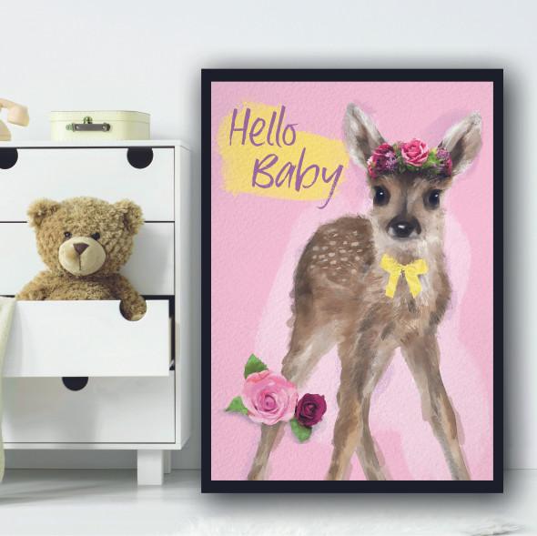 Deer Hello Baby Light Pink Floral Wall Art Print