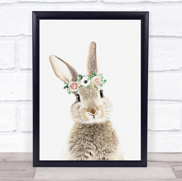 Bunny Rabbit Flowers Pastel Wall Art Print